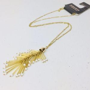 NEW Baublebar Gold Tassel White Bead Necklace